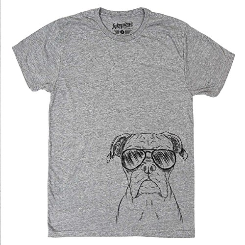 Dogs Boxer Mens T-shirt (Inkopious Axel The Boxer Dog Men's/Women's Triblend T-Shirt Unisex Crewneck Xtra Large Grey)