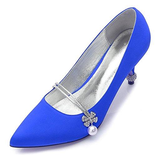 L@YC Zapatos De Boda Femeninos F17767-39 Rhinestone SatéN Wedding Party & Fine Shoes Plataforma De Noche Blue