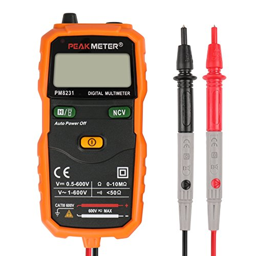 PEAKMETER MS8231 Pocket Size 2000 Counts Mini Auto Digital Multimeter with Non Contact Voltage Detector ()