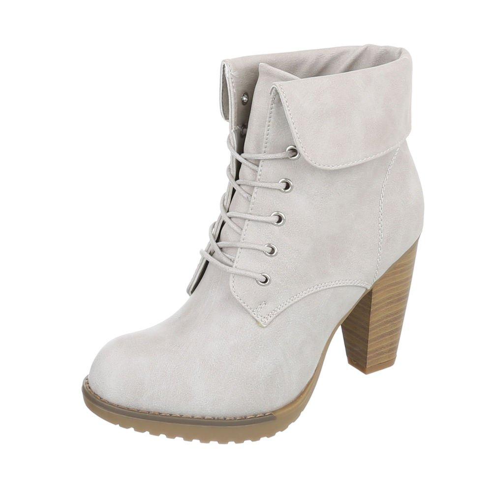 Ital-Design High Heel Stiefeletten Damenschuhe Schlupfstiefel Pump High Heels Schnürsenkel Stiefeletten  36 EU Hellgrau