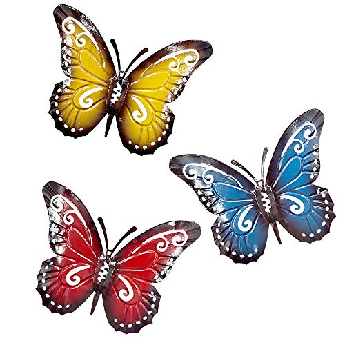 - YINUOYOUJIA Metal Wall Art Decor- Metal Butterfly Decorative Wall Art -3D Multicolor Wall Decor Sculpture Hanging for Indoor and Outdoor 3PC
