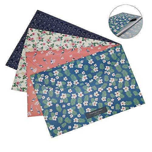 Bearda 4PCS A4 File Filling Envelopes- Premium Cute Floral Document Holder Bags Waterproof Poly Paper Pouch Letter Size File Storage with Snap Button for School, Office, Home,Collection Organizer (Holder Decorative File)