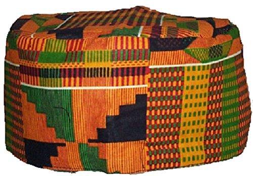 [Kente Pattern Kufi Kofi Hat Cap] (Ethnic Hats)