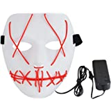 Kbnian Halloween Mask PVC Scary Grin Masks LED Flash Glow Light Up Men Women Cosplay Costume Masquerade Parties,Carnival…