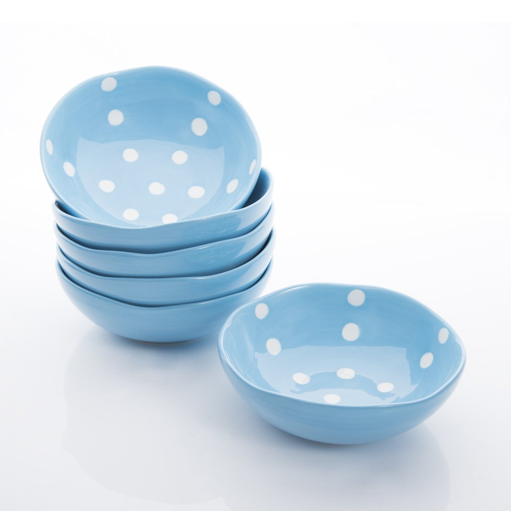Hoomeet Porcelain Ramekins/Dipping bowls/Dessert bowls, Great for Cream Brulee, Ice Cream, Snack and Condiment, 4oz, Set of 6, Rocky Round Shape with Hand-painted Color & Dots. (Blue)