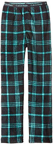 (Calvin Klein Little Boys' Plush Sleep Pant, Black/Green Plaid,)