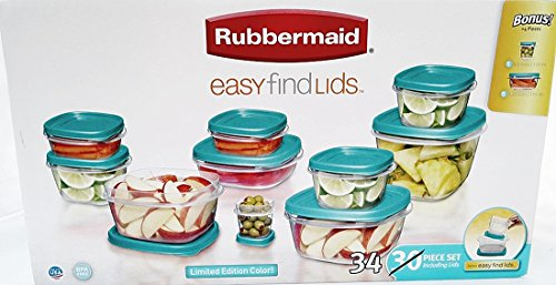 Great Features Of Rubbermaid Limited Edition Turquoise Color Easy Find Lids, 34-piece Set, with Bonu...