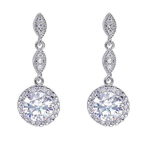 Junxin Jewelry White Diamond Earrings for women 10KT White Gold