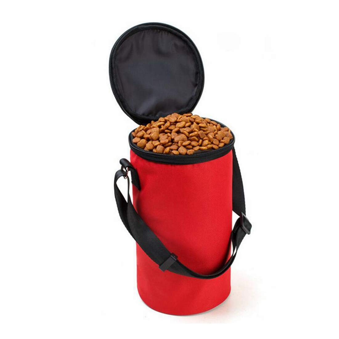Red KTYX Pet Supplies Cats and Dogs Out Travel Portable Dog Food Bags Collapsible Firm Wear-Resistant Waterproof Oxford Cloth Pet Bowl (color   RED)