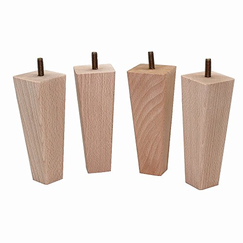 WEICHUAN Tapered Solid Beech Wood Replacement Sofa Couch Chair Ottoman Loveseat Coffee Table Cabinet Wood Furniture Feet Furniture Wood Legs(Set of 4)