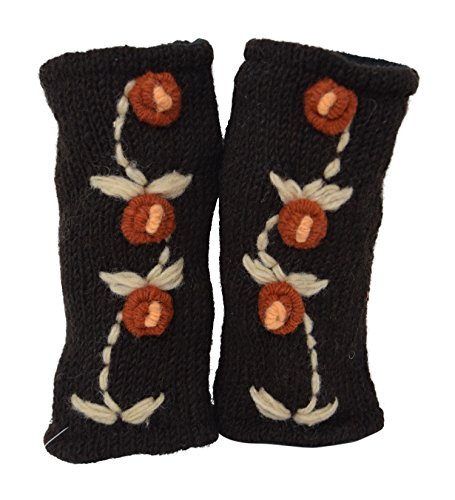 Floral Insulated Lined Wool Knit Arm Warmer Fingerless Gloves Thumb Hole Hand Mittens (Brown / Orange)
