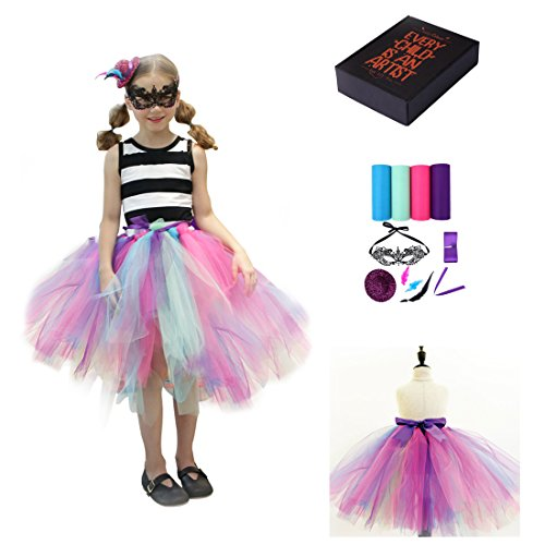 Halloween Costumes Diy For Girls (Princess Girls Halloween DIY Witch Costumes with Mask,Multicolor Dress Age3-10years)