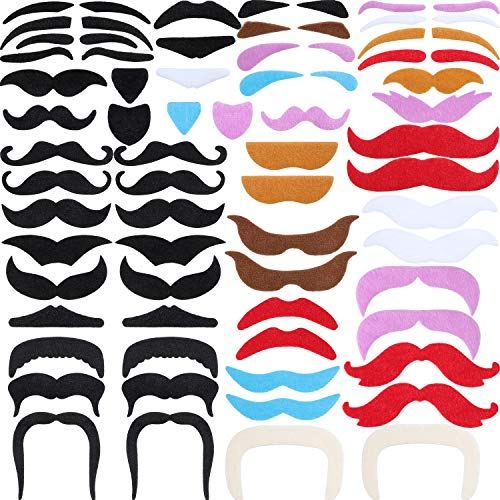 Tatuo 68 Pieces Fake Mustaches Eyebrow Beard St. Patrick's Day Decoration Self Adhesive Novelty Costume Party Supplies for St. Patrick's Day and Role-Playing (Multicolor) ()