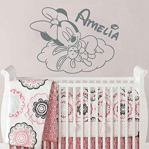 PPL21 (Leave a Message of Custom Information) Custom Name Wall Decal Minnie Mouse Vinyl Wall Stickers Babys Room Decoration Cute Cloud Art Nursery Wallpaper Wall Mural AY936 -