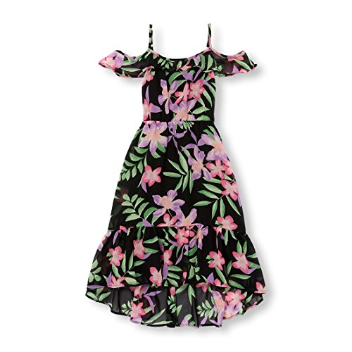 The Children's Place Big Girls' Cold Shoulder Casual Dresses, Black 98636, XL (14)