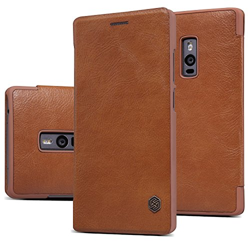 Nillkin Qin Royal Leather Bumper Flip Case Cover Case For Oneplus Two / One Plus Two  Brown