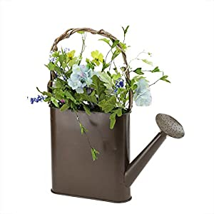 """Darice 17"""" Lakeside Blue & White Silk Mixed Flower Artificial Spring Floral Arrangement Watering Can 34"""