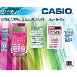 Casio Scientific Calculator FX-300ES Plus with Bonus Calculator, Pink