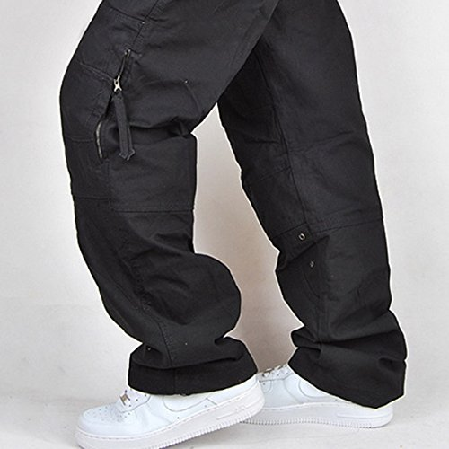 22cbe3403a3 FEOYA - Homme Pantalon Grande Taille en Coton pour Travail et Loisir -  Pantalon Style de Cargo pour Automne - Noir - Taille Asiatique 34   Amazon.fr  ...