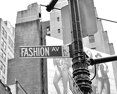 Urban Wall Decor Dorm Wall Art New York City Fashion Avenue Street Sign Photography Print Black and White Photography Fashion Wall Decor Fashion Wall Art