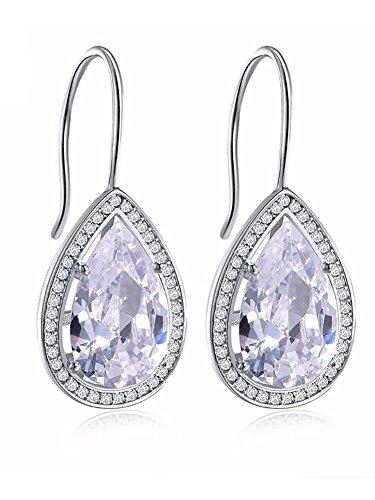 Large 5 carat Teardrop Oval Pear Shape Black Cubic Zirconia Hook Drop Earrings Ginger Lyne ()