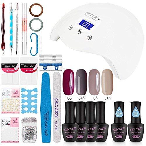 Gellen Gel Nail Polish Starter Kit with 24W LED lamp Base Top Coat, Manicure Tools Popular Nail Art Designs #4