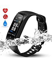 Hommie Man & Women Fitness Tracker Heart Rate Monitor Smart Bracelet, Swimming Waterproof Wristband Smart Watch with Call/SMS Reminder Pedometer Sports, Blue