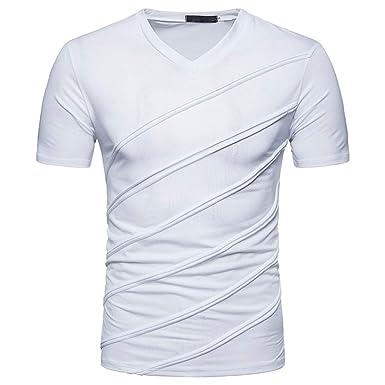 12cfa4a9b5928 JiaMeng Hommes Mode Couleur Unie Coupe Slim Rayures Diagonales Pli Manche  Courte T-Shirt Sports