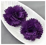 12 Dark Purple Chiffon Flower Soft Chiffon Fabric Silk Rose Flower Bridal Wedding Garter Baby Hair Comb Headband Clip Pin SF101