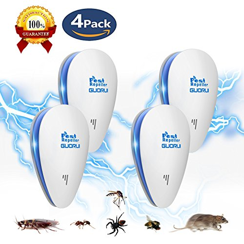Ultrasonic Pest Repeller, Electronic Pest Repeller Plug in for Bugs and Insects, Mice Repellent to Repel and Prevent Mouse, Ant, Mosquito, Spider, Rodent, Roach,Child and Pets Safe Control(4 Packs)