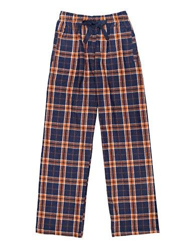 Ultra Soft Unisex Youth 100% Cotton Flannel Pants – Orange/Navy, Medium
