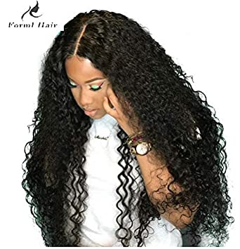 1fdac7903 Amazon.com : Curly Human Hair Lace Front Wigs 130% Density Brazilian Virgin  Loose Deep Curly Wig with Baby Hair for Black Women 12Inch : Beauty