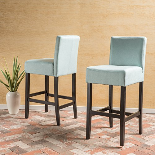 Great Deal Furniture Ester Sky Blue Fabric Barstool Set of 2