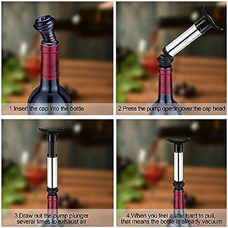 Bomba de Vino - Tapón de Almacenamiento al Vacío Set Accesorios de Vino con 4Tapones, 1 Vertedor de Vino y 1 Cortador Manual al Vacío