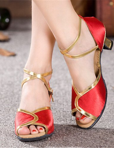 No baile rojo nbsp;Cuña Zapatos nbsp;Mujer nbsp;Satén nbsp;– personalizable rojo nbsp;Latin nbsp;– nbsp;– de nbsp;– shangyi qZFt1gnH1