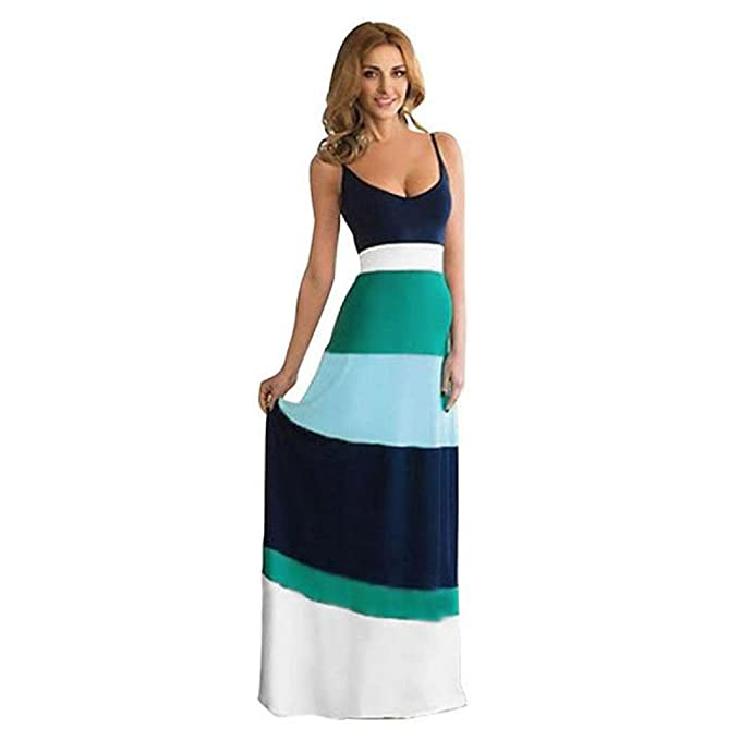 ❤ Vestido de Rayas Empalmado de Las Mujeres, Vestido de Fiesta Largo de Verano Boho Long Maxi de Mujer Absolute: Amazon.es: Ropa y accesorios