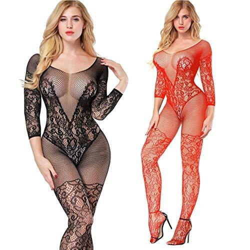 2 Pack Fishnet Bodystocking Lingerie Babydoll Crotchless Teddy Nightie Long Sleeve Bodysuit Plus Size for Women (Black+Red) ()