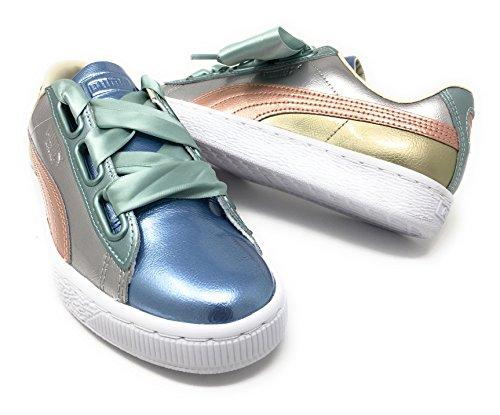 promo code 8116c 67e5c PUMA Women's Basket Heart Bauble Sneakers, Silver, 7 B(M) US