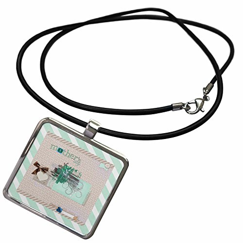 - 3dRose Beverly Turner Mothers Day Design - Mothers Day, Bow, Heart, Vine, Leaves Abstract, Tan, Green, Blue, Tan - Necklace With Rectangle Pendant (ncl_280577_1)