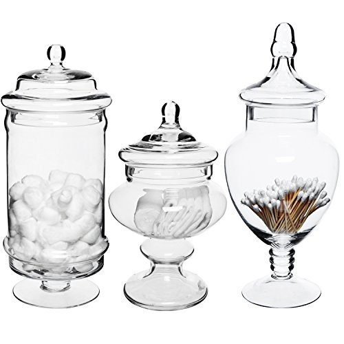 (MyGift Set of 3 Deluxe Apothecary Jar Sets/Glass Kitchen Storage Jars/Terrarium & Home Decor)