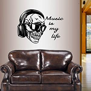 Wall Vinyl Decal Home Decor Art Sticker Skull Headphones and Sunglasses Music Is My Life Quote Phrase Sound Audio Music Shop Removable Stylish Mural Unique Design For Any Room 238