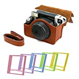 WISAGI Comprehensive Protection Camera Case Bag with Mini Frame for Fujifilm Instax Wide 300 Instant Film Camera,Brown