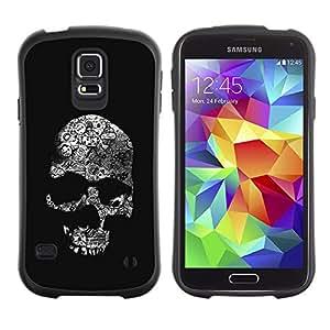 LASTONE PHONE CASE / Suave Silicona Caso Carcasa de Caucho Funda para Samsung Galaxy S5 SM-G900 / Skull Dark Black Death Shadow Bones