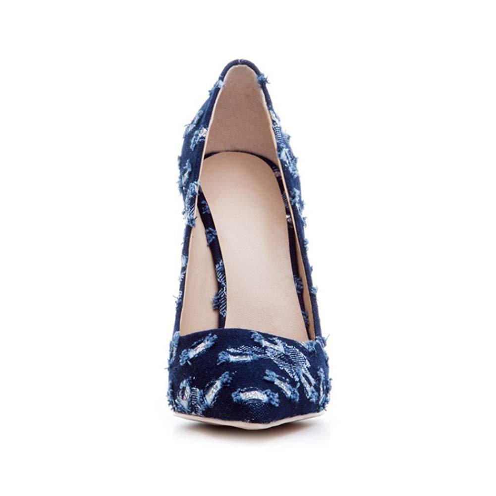 LYY.YY Frauen Mode Spitze High Heels Persönlichkeit Denim-Loch Rutschfest Schuhe Schlanker High Heel Einzelne Schuhe Rutschfest Einkaufen Jeans Pumpen (Absatzhöhe  12Cm) ce93d1