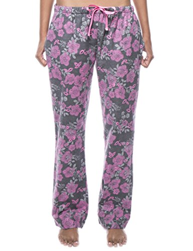 Noble Mount Women's Cotton Flannel Lounge Pants - Floral Grey/Pink - Small