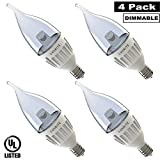 Luxrite LR24505 (4-Pack) 6-Watt Flame Tip LED Candelabra Light Bulb, Equivalent To 40W, Dimmable, Bright White 5000K, 400 Lumens, 80 CRI, 25,000 Hour Life, E12 Candelabra Base, UL-Listed