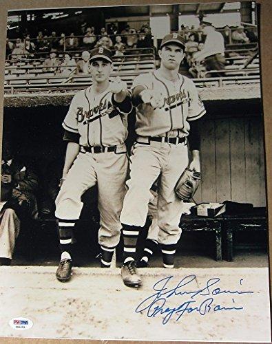 (Johnny Sain signed 11x14 photo with Warren Spahn Pray for Rain inscrip PSA/DNA)