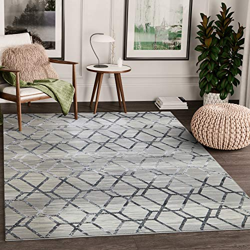 Abani Rugs Grey Distressed Geometric Hexagon Pattern Area Rug Modern Eclectic Style Accent, Nova Collection | Turkish Made Superior Comfort & Construction | Stain Shed Resistant, 8 x 10 Feet
