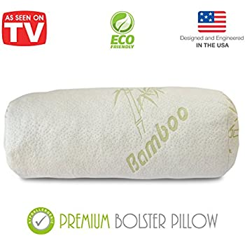 this item premium bamboo bolster pillow for bed shredded memory foam pillow cervical support for legs round neck pillow for neck pain therapeutic