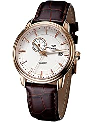 Tophill Mens Sm51015 Automatic Self Wind 24 Jewel Leather Strap Watch Brown
